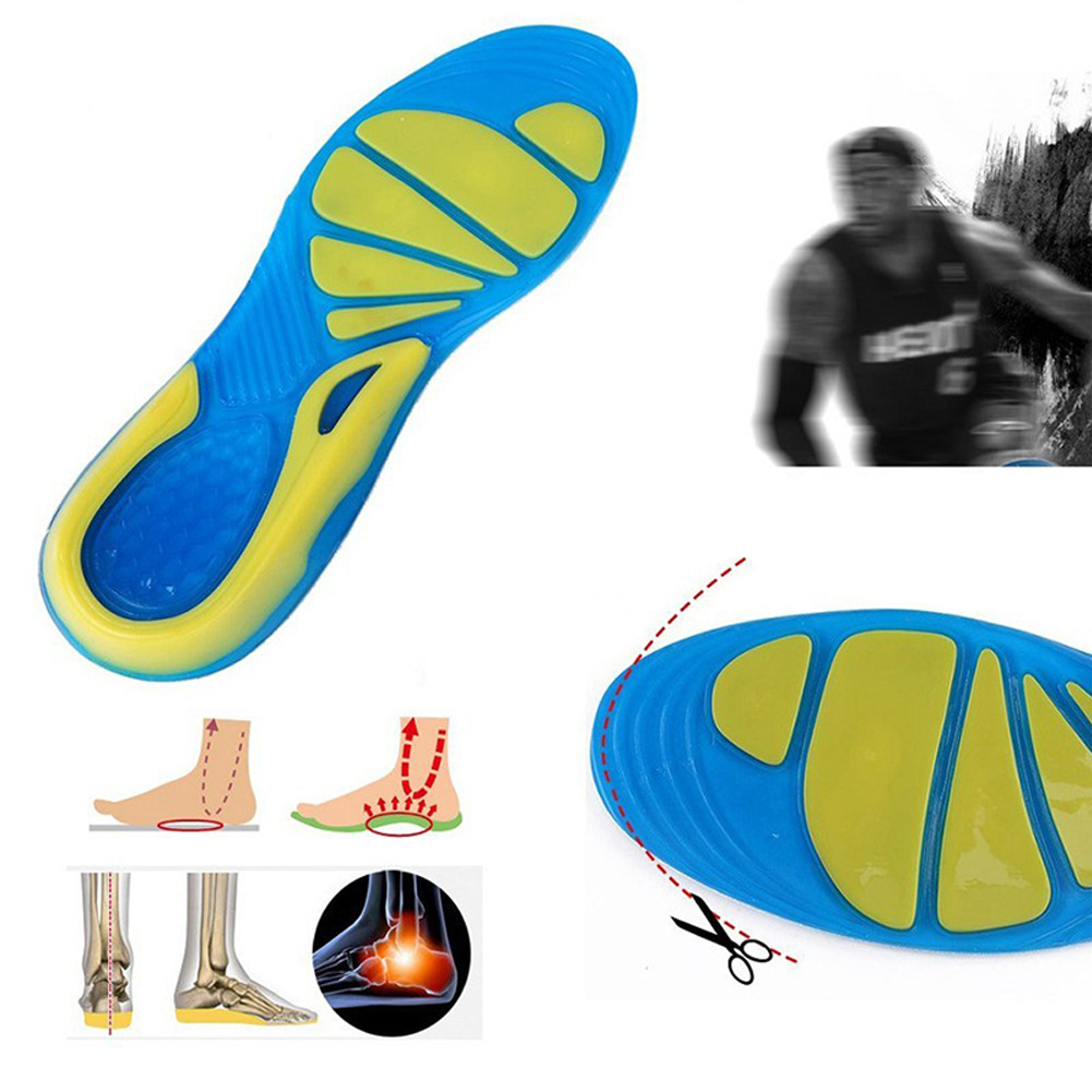 1pair For Sport Shoes Pad Unisex Anti-Slip Running Shoe Pads TPE Basketball Football Hiking Shoes Insole Orthopedic Massaging