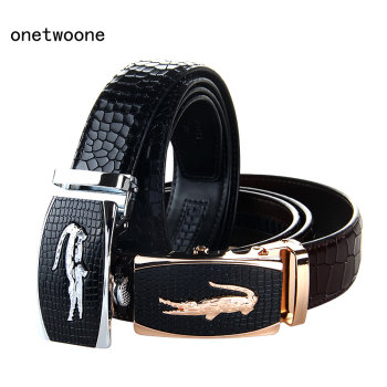 цена New Arrival Mans Genuine Leather Belt Casual Leather Belt Men Luxury Brand Designs Cowhide Straps Crocodile Buckle Black Belt онлайн в 2017 году