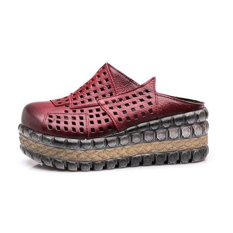 Cuir Pantoufles En Coins Véritable Diapositives T Marque Couleurs Black Été Creusent Comforty forme Chaussures red Femmes Plate Ventilation 008 Hight qt0Iw