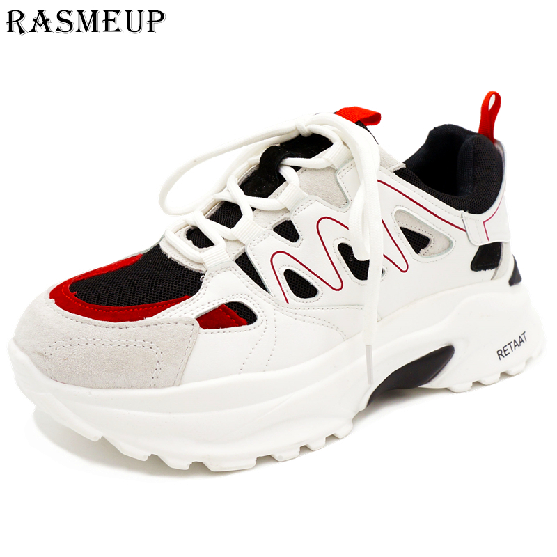 RASMEUP Suede Leather Women s Chunky Sneakers 2018 Fashion Women Thick Sole Sneaker White Platform Lady