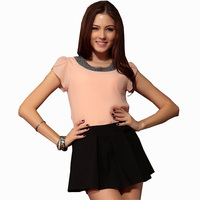 New 2014 Summer Fashion Women Casual Lotus Leaf Short Sleeve T Shirt Blouse Tops