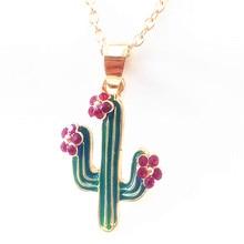 6cac2bd4e71a Lindo oro color de esmalte verde Cactus colgante collares para mujeres  chicas regalos Bijoux rojo flores de cristal collar de jo.