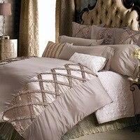 Brief Europe Satin Bedding Set 4Pcs 6Pcs Set Duvet Cover Sheet Pillow Cases Solid Pleated Silk