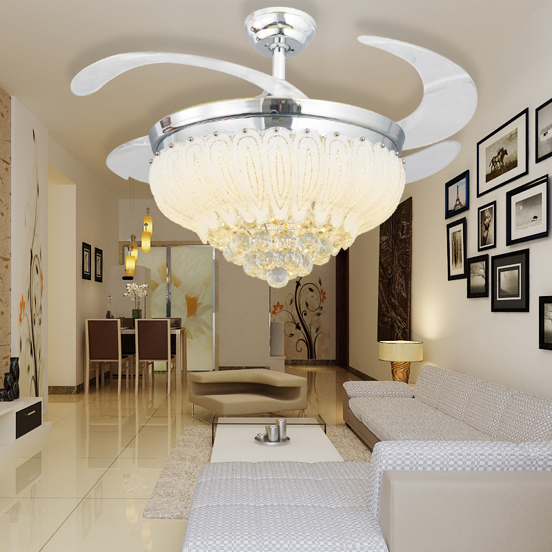 Popular ceiling fan crystal chandelier buy cheap ceiling - Bedroom ceiling fans with remote control ...
