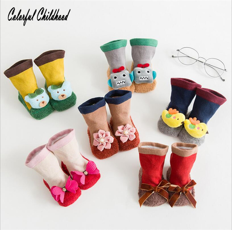Newbron baby socks toddler kids cartoon animals flower socks infant baby thick warm floor socks for 0~2t funny socks for kids