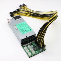 GPU Mining Power Supply Kit 1200W PSU Server Breakout Board 12pcs PCIe 6Pin Cables