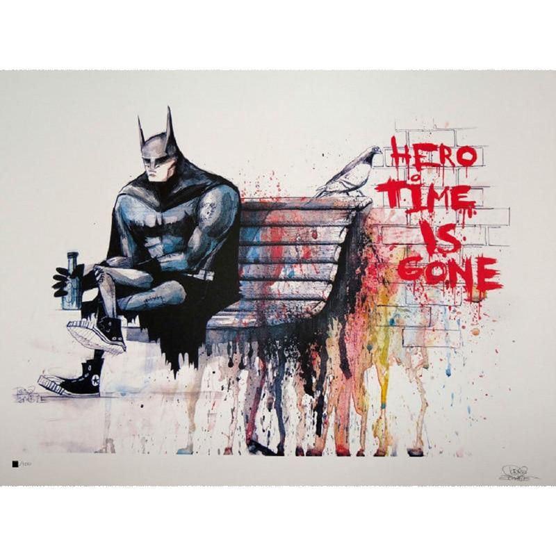 Banksy Hero Zeit Ist Weg LEINWAND Kunstdruck Home Kunst Leinwand Gemälde  Wandbilder Für Wohnzimmer Wandkunst Dekoration