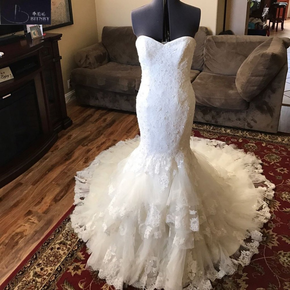 BRITNRY Elegant Robe De Mariee Mermaid Wedding Dresses Sweetheart Court Train Lace Beaded Vintage Wedding Dress Plus Size