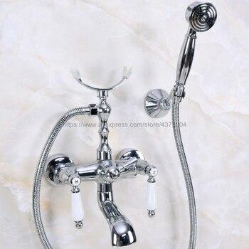Polished Chrome Dual Handles Bathtub Faucet Set Wall Mount with Handshower Bath Shower Mixer Taps Nna237 wall mount bathroom tub mixer faucet golden dual handles bathtub faucet with handheld shower