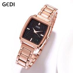 Senhoras das Mulheres da Marca de Luxo GEDI Relógio Estrelado Dial Rose ouro Mulheres Relógios Woman Watch relógio de Pulso Feminino Senhora 2019 Relógio