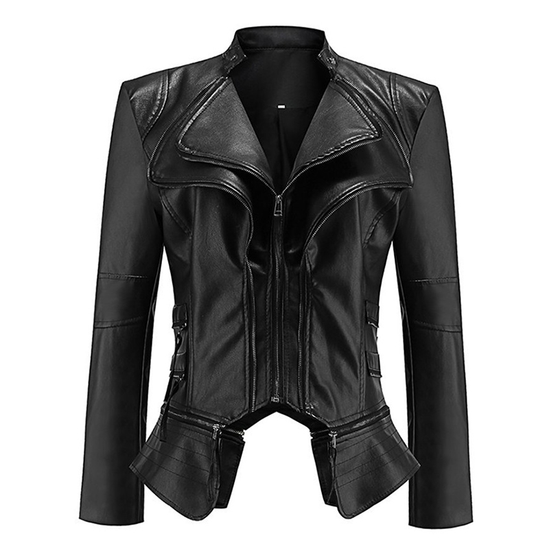 Spring Autumn Women Short   Leather   Jacket High quality PU   Leather   Splice locomotive Tops Female Slim Black Small Coat Plus size