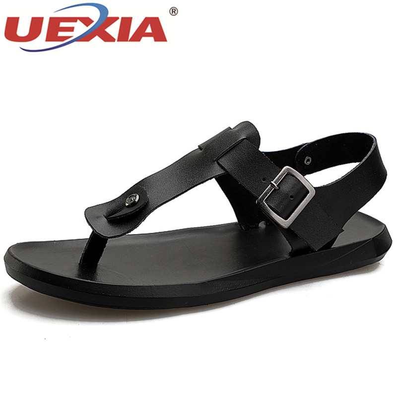 UEXIA New Summer Outdoor Men Leather Sandals Fashion Flats Sandals for Men Summer Beach Sandals Shoes Casual Male Zapatos Hombre