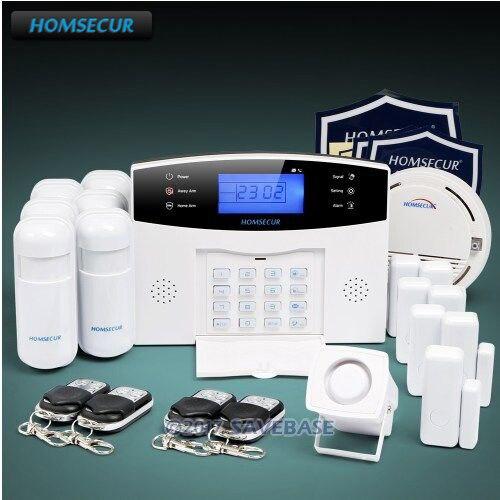 Homsecur Беспроводной и проводной 433 мГц ЖК-дисплей GSM 850/900/1800/1900 охранной сигнализации Системы с дым сенсор (доступны отправка из ЕС)