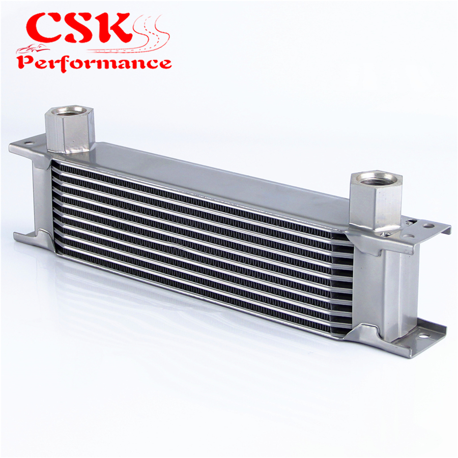 AN10 Female 10 Row Universal Oil Cooler 330 X 70 X 51mm 7/8-14 Threads Silver image