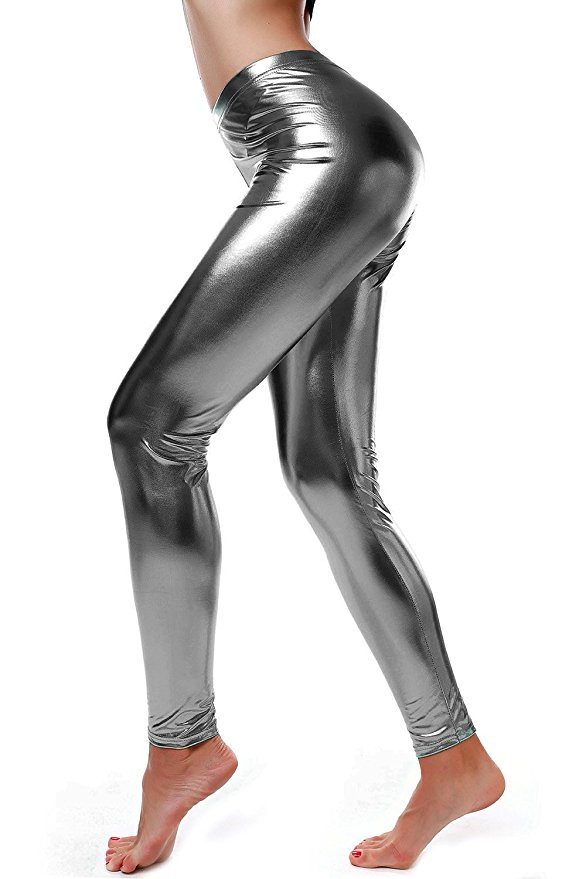 ICOSTUMES Women Faux Leather Leggings Wet Look Shiny Metallic Waist Legging Pants Trousers New