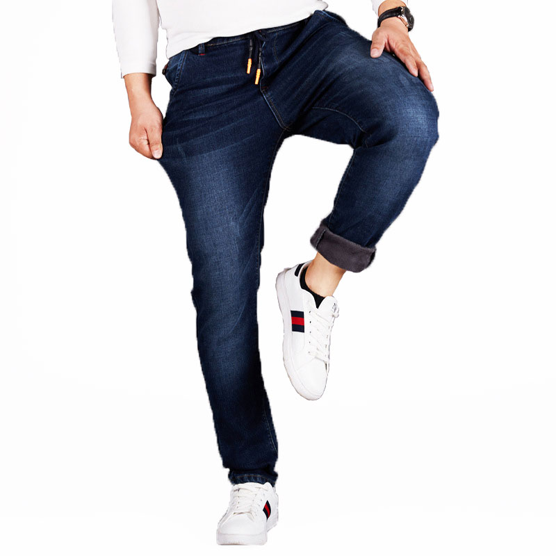 L-6XL Fleece Men   Jeans   Loose Waist   Jean   High Waist Elastic Cashmere Trousers Autumn Winter Baggy Straight Denim Men   Jean   HLX130