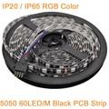 Black PCB 5M DC12V RGB Multi-color LED Strip 5050 SMD 60LED/M IP20 / IP65 Waterproof, 12V Flexible LED Ribbon Rope Tape