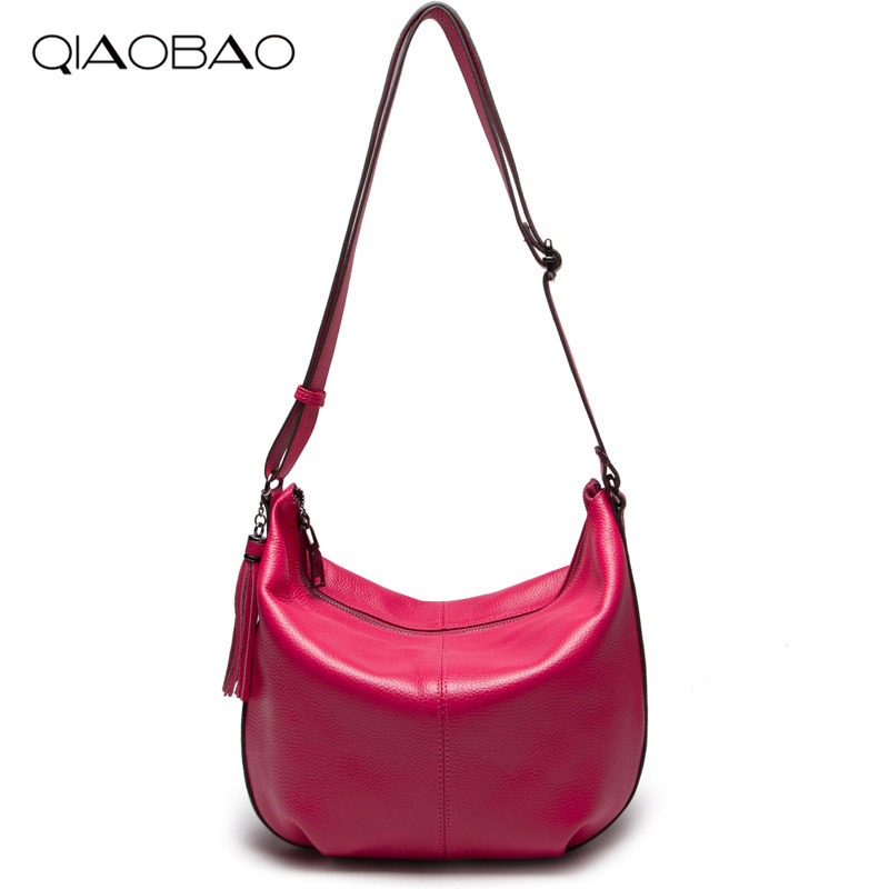 QIAOBAO New Brand 100% Genuine Leather Messenger Bag Famous Brand Women Shoulder Bag Women Fashion Bag Crossbody bag new brand genuine leather women bag fashion retro stitching serpentine quality women shoulder messenger cowhide tassel small bag