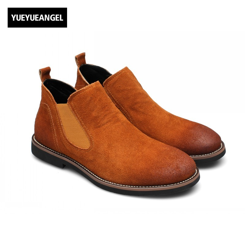Slip On Round Toe Mens Ankle Chelsea Boots Male Shoes New Fashion Vintage British Chaussure Homme Zapatillas Hombre Footwear farvarwo formal retro buckle chelsea boots mens genuine leather flat round toe ankle slip on boot black kanye west winter shoes