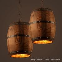 Loft American village wooden Wine barrel pendant light barrel bucket dining room bedroom E27 Fixture hanging lighting