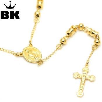 3f2ee6b180b5 Acero inoxidable Jesús collar y colgantes larga cadena de cuentas del Rosario  Virgen María católica cristiana joyería religiosa