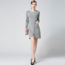 Hmchime осень 2017 г. зима бутик женские пуловеры трикотажное платье модные пикантные карман Длинные рукава круглый вырез горловины женщина платье HM676
