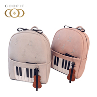 Coofit Cute Note Piano Printed Mini Backpack For Girls Teens High Quality Guitar PU Leather Female Women Bagpack Travel Satchel