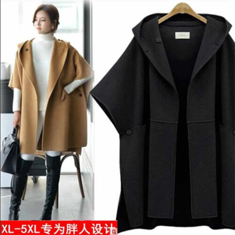 Women's Casual Woolen Coat Spring Autumn Large Size Loose Batwing Sleeve Cloak Jacket Plus Size Hooded Wool Overcoats 5XL W611
