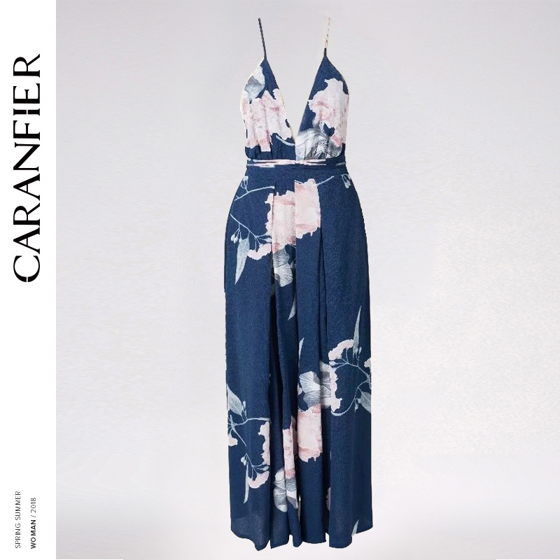 CARANFIER 2018 Sexy V Neck Backless Print Jumpsuit Romper Women LaceUp Halter High Waist Overalls Split Wide Leg Summer Jumpsuit