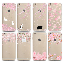 New Fashion Cherry Blossom Phone Case Cover For iPhone 6 6s 6Plus 6s Plus Beautiful Floral Soft Clear Transparent Cell Phone Bag