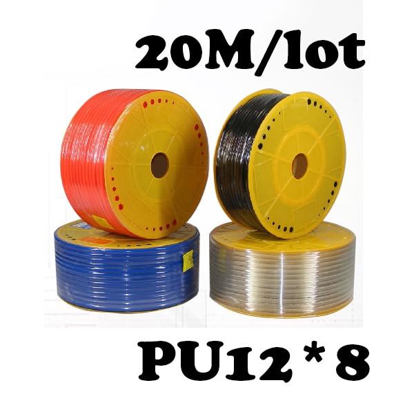 PU12*8  20M/lot  Free shipping Pneumatic parts 12mm PU Pipe 20M/lot for air pneumatic hose 12*8 Compressor hose air compressor 1 4pt 7 way air hose pipe inline manifold block splitter free shipping