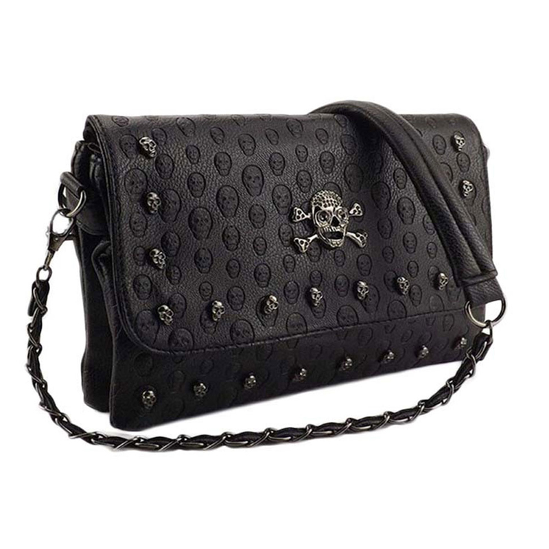 2018 Vintage Fashion Skull Women Messenger Bags Rivet Envelope Mini Clutch Bags Envelope Crossbody Punk Shoulder Bag Sac A Main vintage handbags clutch retro women messenger bags panelled box bag rivet crossbody shoulder bags small handbag purse sac a main