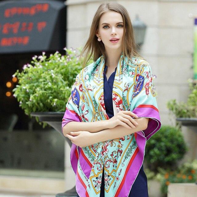 130*130 см 2017 осень зима женщины марка Шелковый Шарф цветочный печати большой площади шарф twill Шелковый Платок пашмины