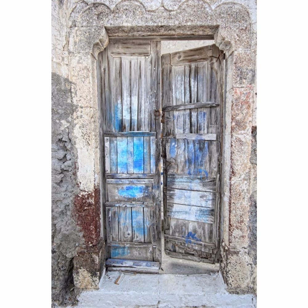 Thin fabric cloth Printed photography background old wood door backdrop F-2599