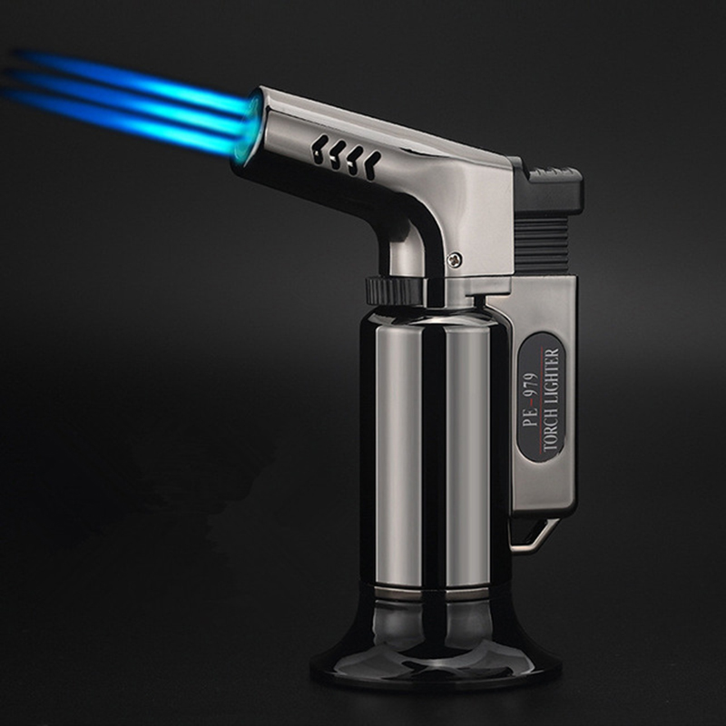 US $7 56 15% OFF|Three Tubes Torch Turbine Lighter gas lighter Spray Gun  Butane 1300 C Blue Flame Cigar Explosion proof Lighter Wild Kitchen-in