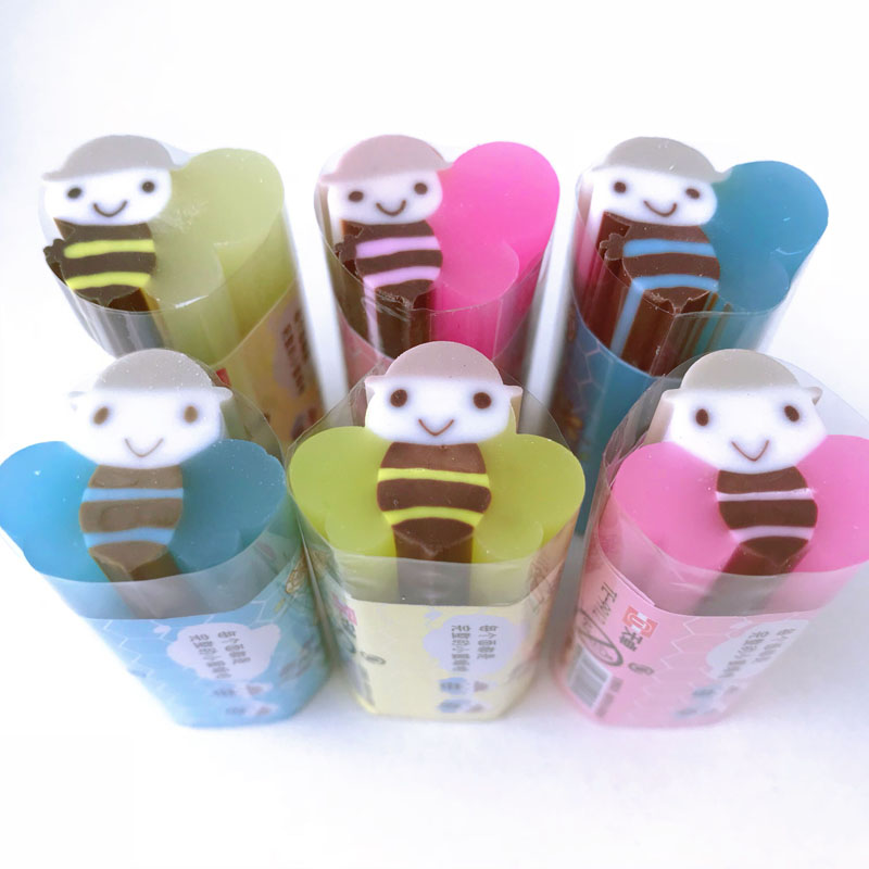 1PC Free Jelly Bee Cutable Eraser Rubber Erasers Correction School Office Supply Student Stationery Kid Gift