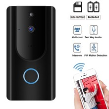 720P Wifi Video Doorbell Security Camera Motion Detection Alarm Built-in TF Card Two Way Audio Battery APP Control