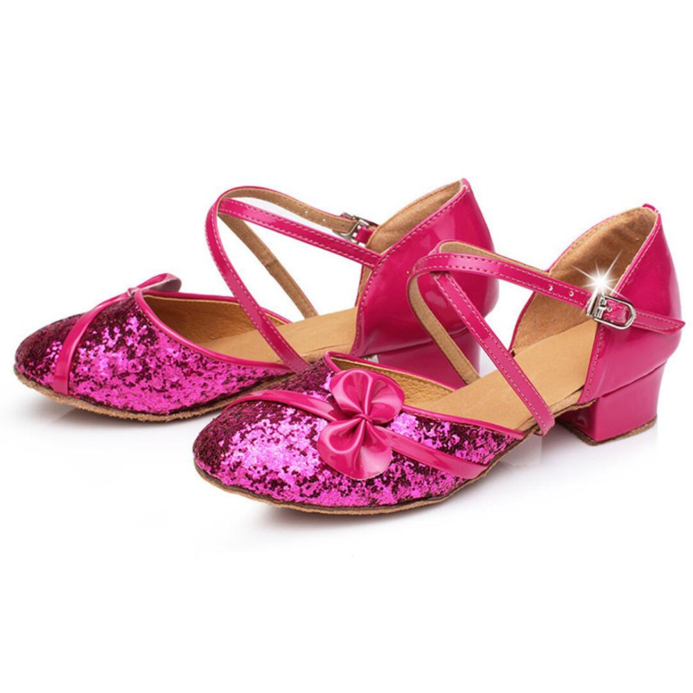 latin shoes girls glitter ballroom dance closed toe standard children women
