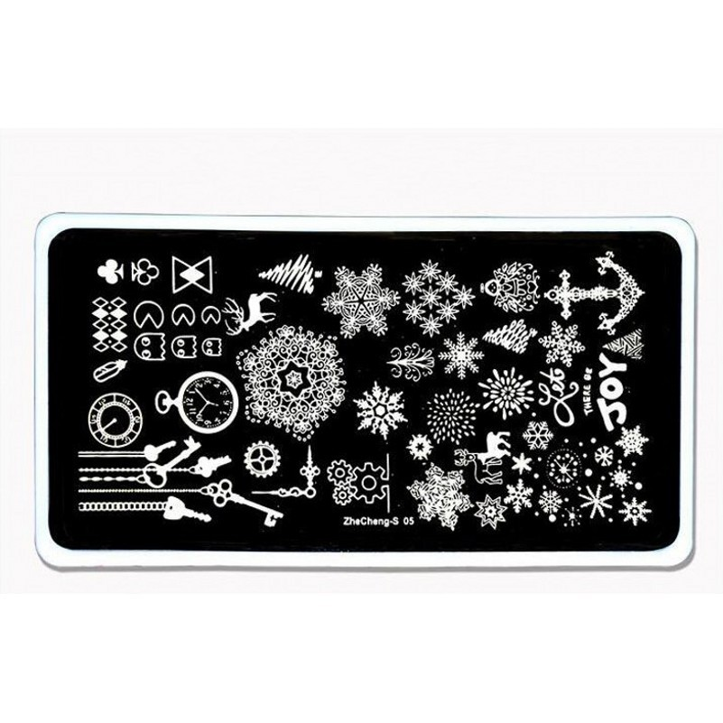 NEW 1PC Nail Stamping Plates Snowflake Dream Catcher Anchor Key Pattern Nail Template Plate Rectangle Stencil for Nail S01014 in Nail Art Templates from Beauty Health