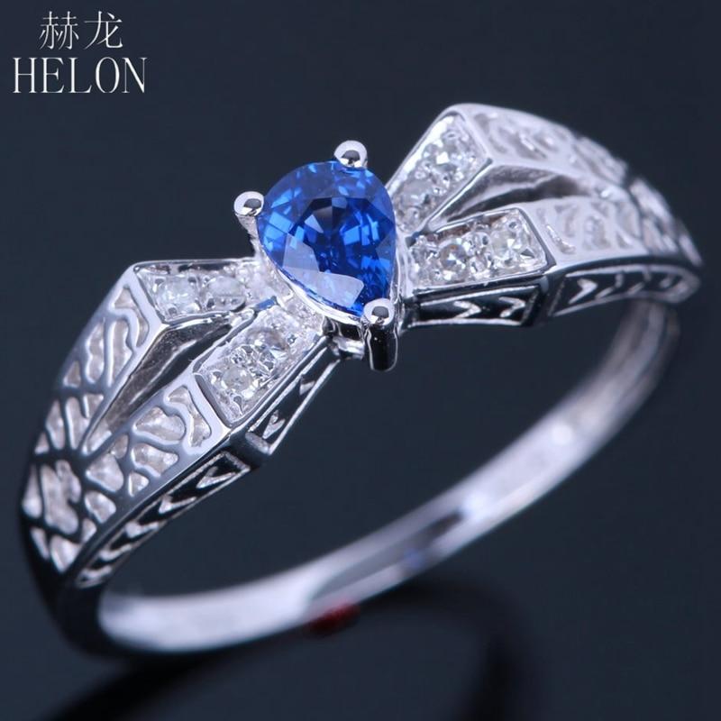 HELON стерлингового серебра 925 4x5 мм Груша 0.32ct сапфир кольцо с бриллиантом обручальное кольцо старинной Винтаж Обручение кольцо Лидер продаж