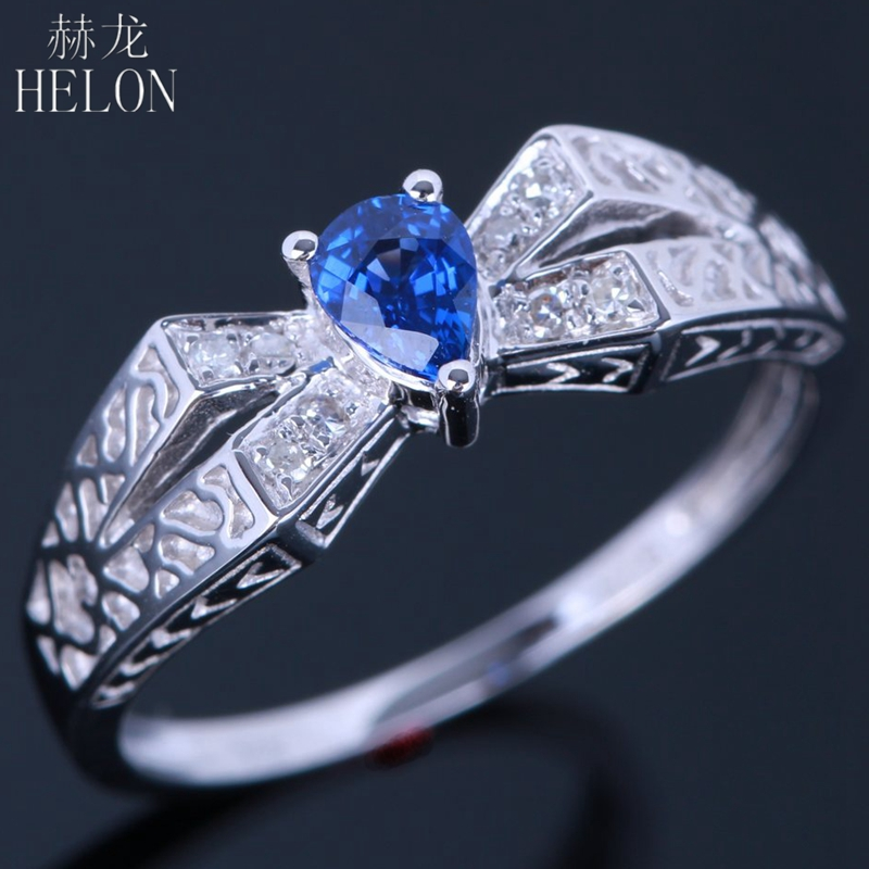 HELON 925 sterling Silver 4x5mm Pear cut 0.32ct Sapphire Ring With Diamond Wedding Ring Antique Vintage Engagement Ring Top Sale