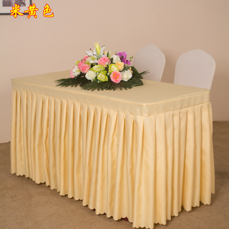 100% Polyester table cloth oval rectangular pleated table cover for wedding party meeting decoration hotel table skirt
