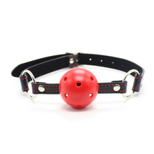 2017 PU Leather Red Heart Band Ball Gag Pattern Bondage Gags Oral Fixation Gag Mouth Gagged