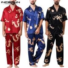 514923d15 INCERUN nuevo cómodo conjunto de manga dormir 2019 hombres Impresión de  dragón de moda corto camisa botón abajo cuello en V Sexy.