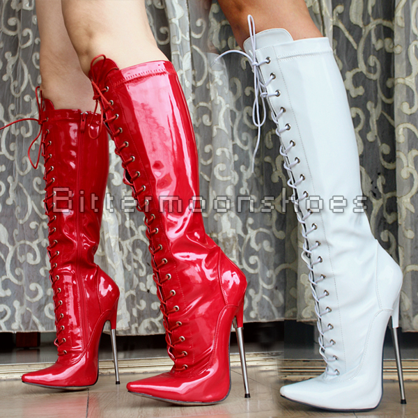 Sexy Women Boots Female Metal Heels Pointed Toe Lace Up Shoes Women Thin High-heeled Boots Knee High boots Motorcycle Boots 20cm pole dancing sexy ultra high knee high boots with pure color sexy dancer high heeled lap dancing shoes