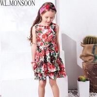 W L MONSOON Princess Dress With Bow 2018 Girls Summer Dresses Kids Clothes Rose Flower Disfraz