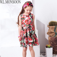 W L MONSOON Princess Dress With Bow 2018 Girls Summer Dresses Kids Clothes Rose Flower Disfraz