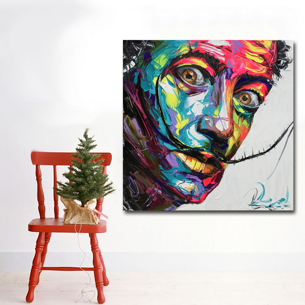 Abstract Art Prints On Canvas Us 4 43 49 Off Abstract Art Prints Colorful Faces Of Salvador Dali Oil Painting Wall Art Canvas Printing Poster And Print For Living Room Decor In