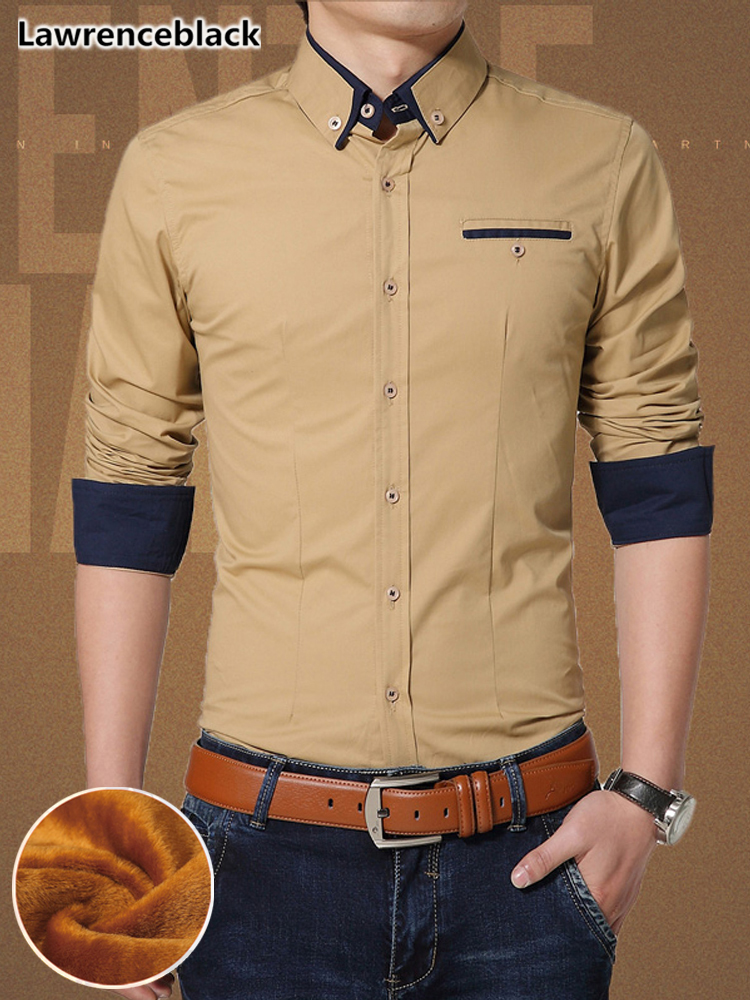100% Quality High Quality Men's Cotton Business Dress Shirt 2018 New Design Winter Warm Thick Social Shirts Camisa Masculina Manga Longa 1638 To Ensure A Like-New Appearance Indefinably