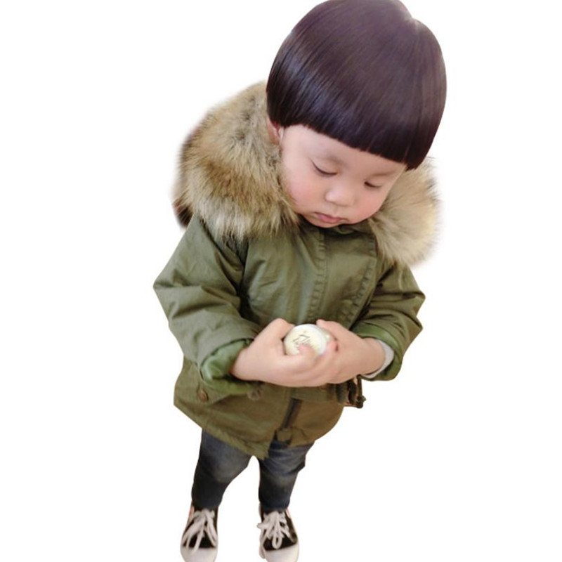 DFXD Children Boys Girls Army Green Long Cotton Coat 2018 Winter New Fashion Zipper Big Fur Collar Hooded Warm Outwear 2-8Years 2017 new fashion boys winter jacket cotton coat children parka detachable faux fur hooded collar long style army green red black